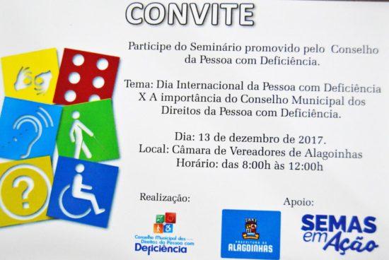 Conselho Municipal de Direitos da Pessoa com Deficiência realiza Seminário